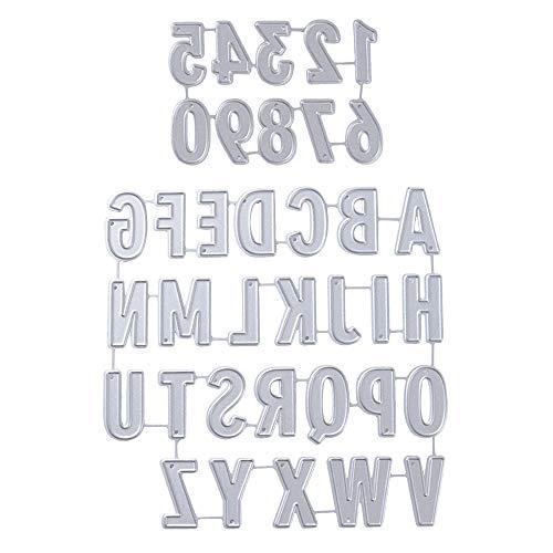 VINFUTUR Stanzschablone Buchstaben und Zahlen, Metall Prägeschablonen Stanzmaschine Stanzformen Schneiden für DIY Scrapbooking Sammelalbum Karten Deko Number Alphabet Cutting Dies