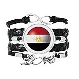 エジプトの国旗のサッカー・ワールドカップ 愛のアクセサリーツイストレザーニットロープリストバンド編み