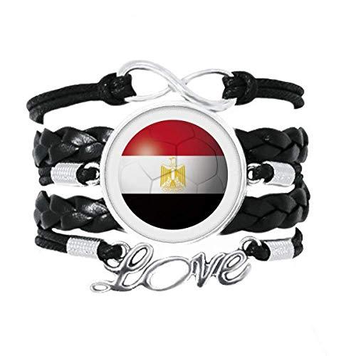 DIYthinker Armband mit ägyptischer Nationalflagge, Fußball-Armband, Liebeszubehör, gedrehtes Leder, Strickseil, Geschenk