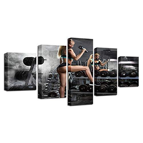 Peinture Modulaire Affiche Oeuvre 5 Pièces D'entraînement Mur Photo Imprimer Toile Art Salon Décoration de La Maison-40x60cmx2_40x80cmx2_40x100cm_Rahmenlos