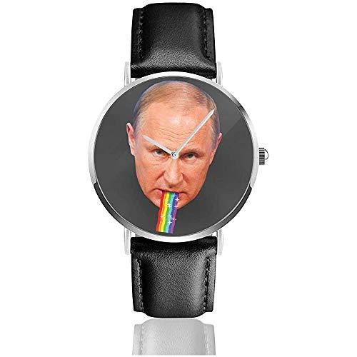 Vladimir Putin Puking Regenbogen Snapchat Filter Uhren Quarz Lederuhr mit schwarzem Lederband für Sammlung Geschenk