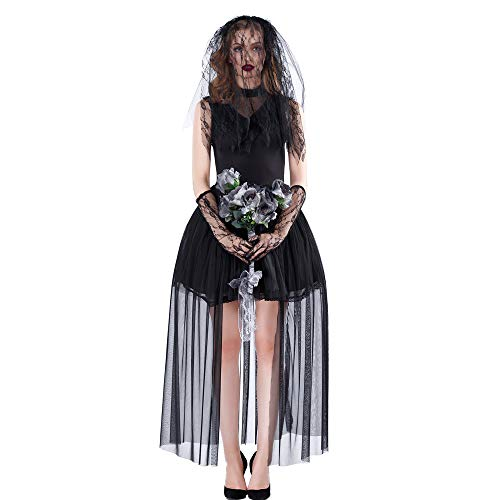 dehong Womens Halloween Kostüm Scary Graveyard Bride Corpse Kleid, Damen Black Lace Cosplay Party Kostüm Kostüme (M)