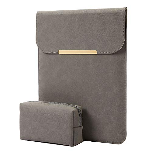 KALIDI 13.3 inch Laptop Sleeve Case Faux Suede Leather for MacBook Air Pro Retina 2016-2020, for 13'-13.5' Surface Pro 5 6 7 with Pouch (for 13.3 inches MacBook/Pro/Air, Dark Grey)