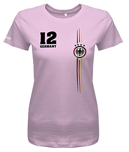 Jayess WM 2018 - Deutschland Logo Rund - Damen T-Shirt in Rosa by Gr. L