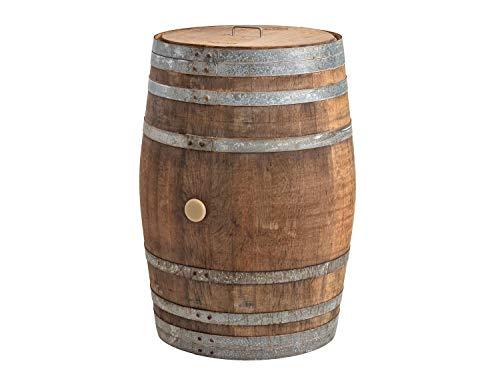Temesso Regentonne mit Deckel, Regenfass Holzfass, Weinfass, Tonne, Eiche 225 Liter Wasserfass - original Fass (Deckel Edelstahlgriff + Wasserhahn)