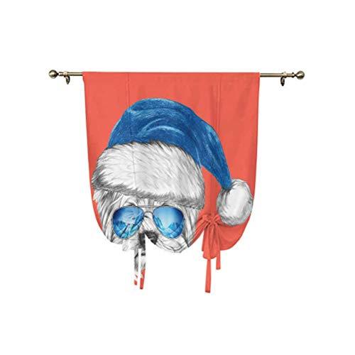 Yorkie - Cortina de amarre con sombrero de Papá Noel azul y espejo, gafas de aviador, dibujo a mano, diseño de animales, ajustable, 137 x 150 cm, para cocina, dormitorio de niños, color blanco coral