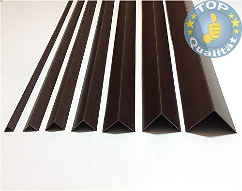 Kunstoffwinkel Braun (108), 1m, 20 x 20mm, Hart-PVC Winkelprofile Kunststoffleiste Profil Eckschutzleiste Abdeckleiste