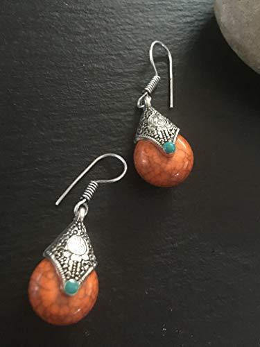 Silver Tibetan red earrings,Afghan earrings, Rajasthani earrings,red boho earrings, Indian tribal earrings,gypsy earrings,Aztec earrings