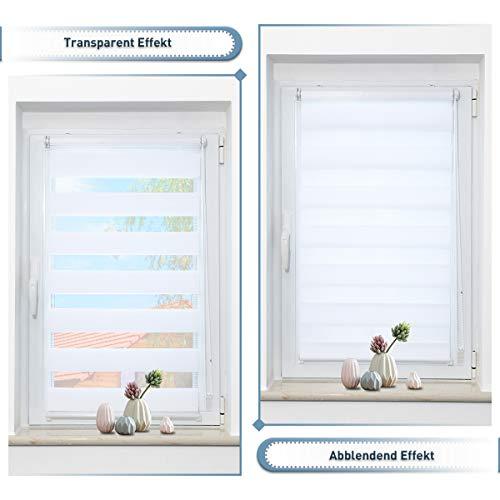 Zarnan Doppelrollo 110x120 cm breit Weiß Klemmfix,Rollos für Fenster Tür ohne Bohren,Sichtschutz Fensterrollo innen,Duo Rollo in Sichtschutz Sonnenschutz Funktion