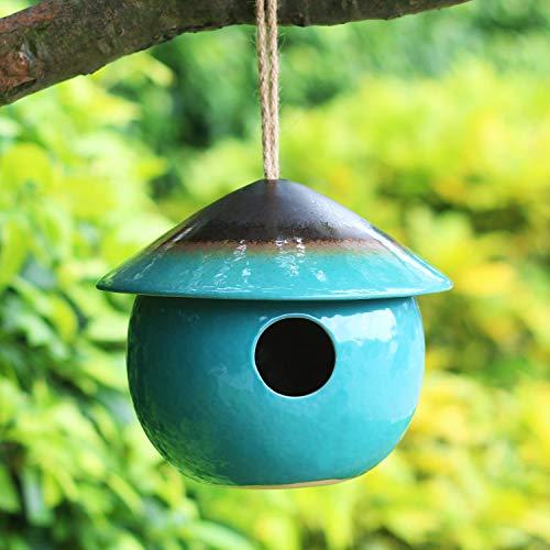 Tenforie Ceramic Birdhouses Bird Hut Hanging Hummingbird Nest