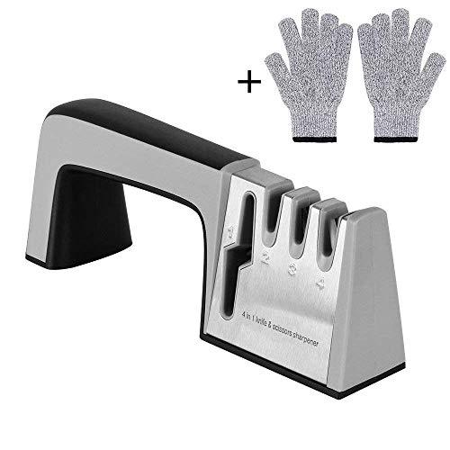 Afilador De Cuchillos Manual Profesional 4 En 1 Juego De Herramientas De Acero Inoxidable 5 Segundos Cuchilla Rápida Cuchillo Para Todos Los Cuchillos De Frutas