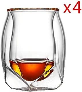 4 Pcs Lot Britain Glen Norlan Whisky Rock Glass Double Deck Whiskey Wine Cup XO Chivas Brandy Snifer Der Whiskybecher Wholesale Wine glass (Capacity : 180ml, Color : 4 Pcs)
