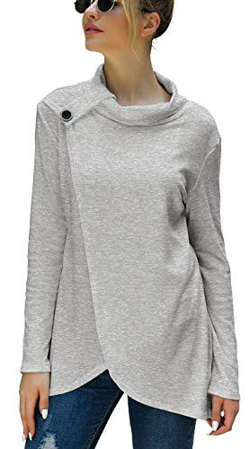 Iandroiy Womens Casual Solid Color Cowl Neck Long Sleeve Pullover Shirts (XX-Large, Light Gray)