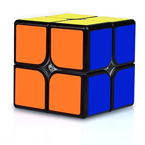JQGO Magic Cube 2x2 Speed Cube, Magico Original 2x2x2 Profesional Speed Cube Niños Juguetes Educativos, Negro