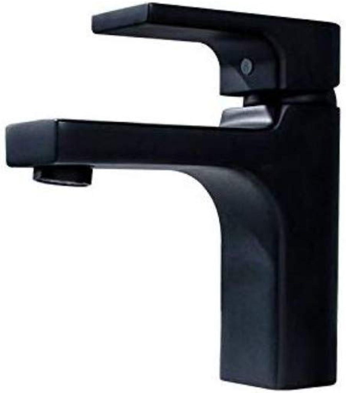 Kupfer Wasserhahn Becken Quadratischer Schwarzer Farbe-Heies Und Kaltes Waschbecken-Hahn-Badezimmer Unter Gegenbecken-Hahn