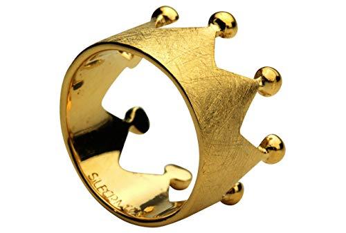 SILBERMOOS Damen Ring Krone Kronenring gebürstet elegant vergoldet Sterling Silber 925, Größe:52 (16.6)