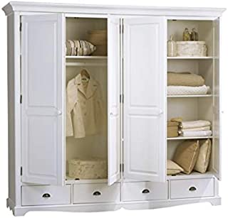 ACTUAL DIFFUSION Windsor Grande Armoire Penderie Blanche de Style Anglais, pin, Blanc, 54x212x195 cm