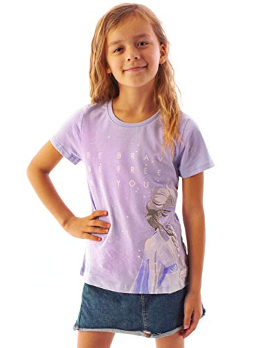 Lila de Frozen 2 Corto Chica Camiseta de la Manga