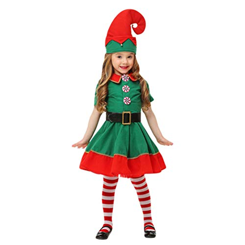 JEELINBORE Unisex Adulto Bambini Elfo Di Natale Costume Con Cappello Santa'S Little Helper Costume Da Elfo Natalizie Fancy Dress Cosplay Halloween (Femmina, 120)