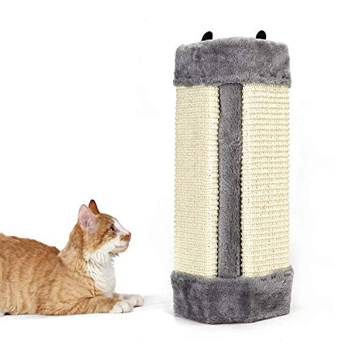 Nobleza – Rascador de Gatos para Esquina de Pared. Afilador de Garras de sisal. Color Gris, L41 * W24 * H2.5CM