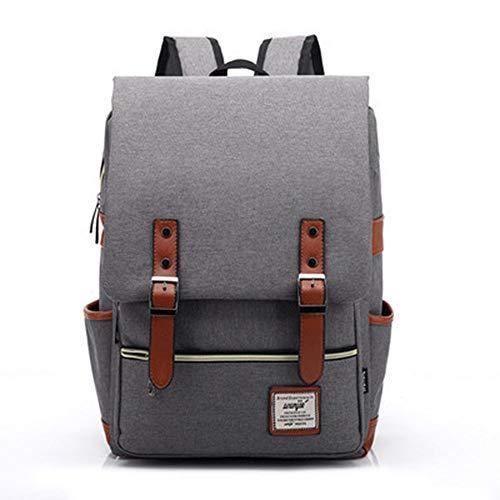 OneMoreT Schulter-Rucksack für Herren und Damen, Segeltuch, für Schule, Reisen, Laptop, College grau
