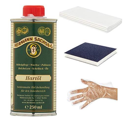 Hermann Sachse Holzöl Arbeitsplattenöl farblos | 250ml Hartöl zur wirkungsvollen Erst und Nachbehandlung von Holz | Möbelöl im Set | Abriebfest und wasserabweisend