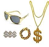 Conjunto de Disfraz de Hip Hop 80s/90S, Accesorios de Rapero de Oro Falso, Gafas Collar Anillo y Pulsera con Signo de Dólar (Pack B sin sombrero)