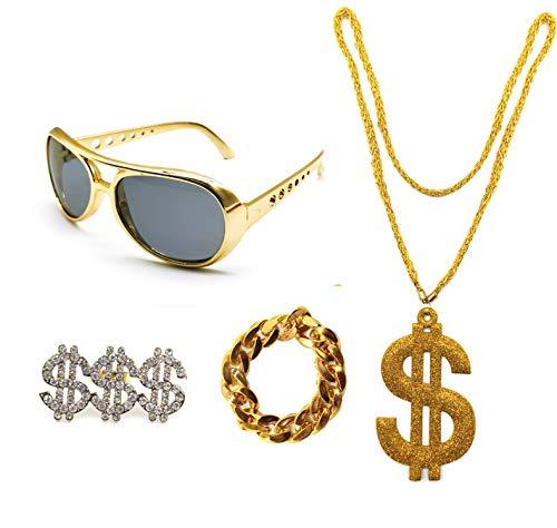 Conjunto de Disfraz de Hip Hop 80s/90S, Accesorios de Rapero de Oro Falso, Gafas Collar Anillo y Pulsera con Signo de Dlar (Pack B sin sombrero)