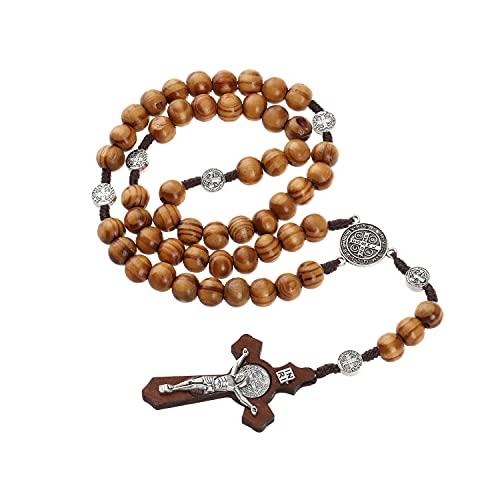 Rosario de madera hecho a mano con perlas católicas y cruz católica
