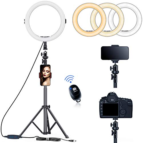 11 inch Selfie Ring Light with Tripod Stand & Phone Tripod Holder, AFI 3 Modes Ringlight for Makeup/Photography/Live Streaming/YouTube TikTok, Compatible with iPhone/Android