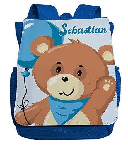 Kleiner Rucksack für Kindergarten mit Namen | Motiv Teddy-bär & Luftballon | viele Fächer Brustgurt Kinderrucksack inkl. Wunschname | ideal für Kita- und Kindergartenkinder von 2-5 Jahre (Royalblau)