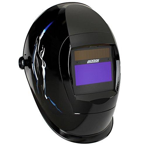 Jackson Safety Lightweight SmarTIGer Variable Auto Darkening Filter Welding Helmet with Balder Technology, Torch Dancer, Black, Universal Size, 46139