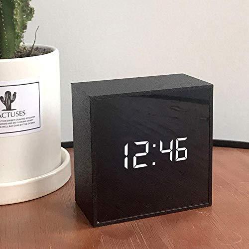 Despertador Despertador Despertador para niños Niños Creatividad LED Electrónica Silencio reloj cuadrado enchufe en negro cuadrado memoria