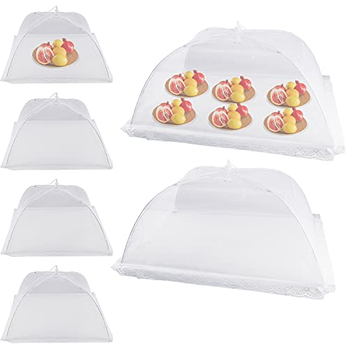 """Food Covers for Outside - 2 Large (28""""X20"""") & 4 Standard (18""""X18"""") Mesh Food Tent - Reusable Collapsible - Large Tall Pop-Up Picnic Table Covers For Outdoors Indoors Party Plants"""
