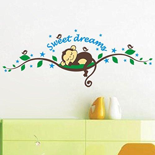 WallStickersDecal - Adesivo da parete con Scimmietta addormentata Sull'albero
