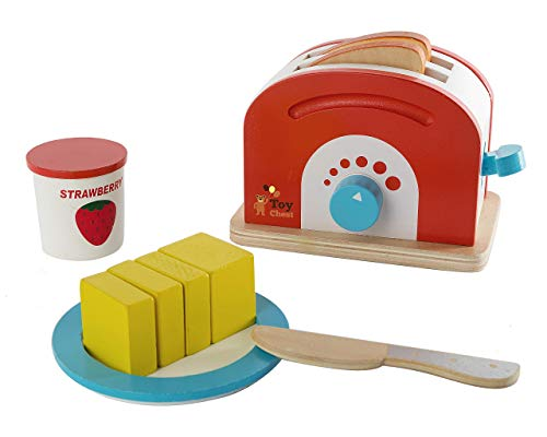 Wooden Toaster Set Cute Durable Colorful Educational Creative Toast Bread Pretend Play Kitchen 10 Piece Play Set for Kids Children Toddlers