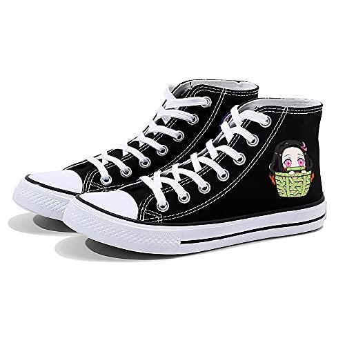 NXMRN Demon Slayer Zapatos Chic Verano Retro Blossom Black Canvas Shoes Print Beige High Sneakers-43