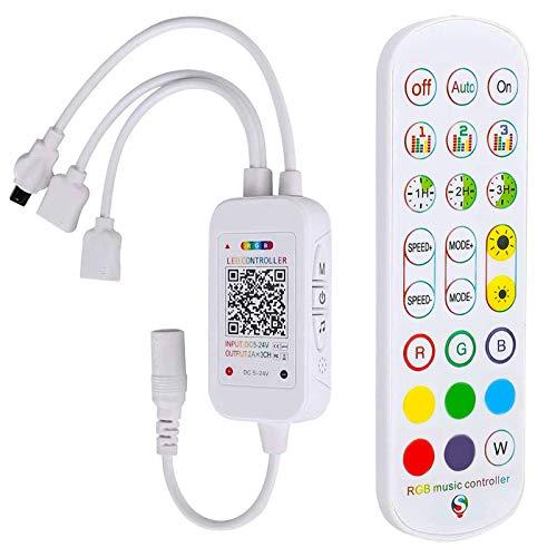 Zhiting, controller Bluetooth RGB, doppia uscita 24 tasti, telecomando con app a LED per luci a striscia LED, funziona con sistema Android e iOS DC 5 V 24 V