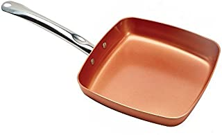 Copper Chef 9.5 Inch Square Frying Pan -Skillet with Ceramic Non Stick Coating. Perfect CookwareForSaute And Grill