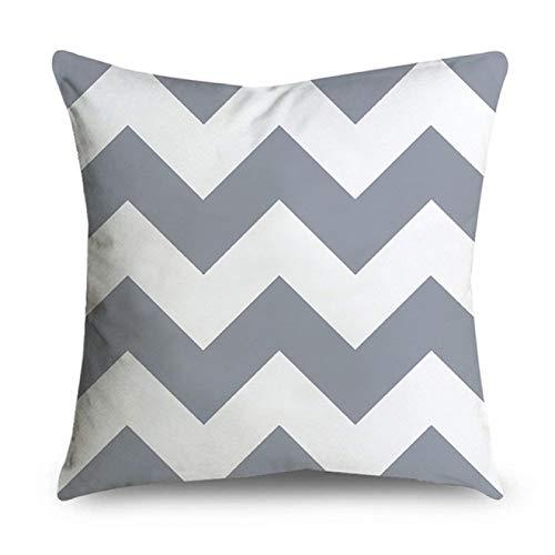 DLYWLCC Cojín de sofá 6 piezas gris rayas geométricas funda de almohada poliéster almohada decoración del dormitorio