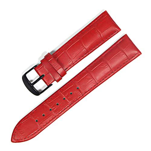 Reloj de la Banda de Cuero Genuino Correas de Reloj 12-22mm Accesorios Reloj Band Hombres Mujeres, Negro Rojo, 20mm