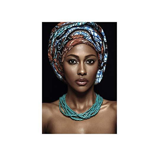Gymqian Carteles e Impresiones de Lienzo de Mujer Africana Cuadros Cuadro de Arte de Pared para Sala de Estar decoración del hogar Cuadros 40x55cm sin Marco
