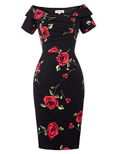 Belle Poque businesskleid Damen Knielang Stretch Kleid Blumen bleistiftkleid Vintag Kleid BP0117-1 40