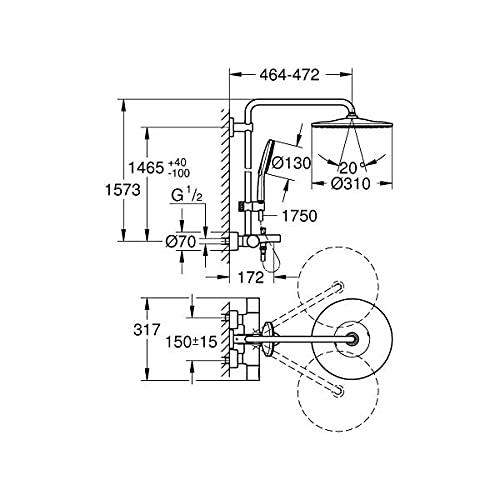 Grohe 26657000 - Sistema de ducha con grifo termostático, cromado