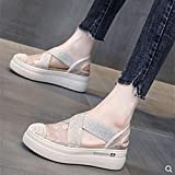dihui Sandalias Puntiagudas de Mujer,Sandalias Baotou, Zapatos Casuales De Fondo Grueso-Beige_37,Sandalias de natación
