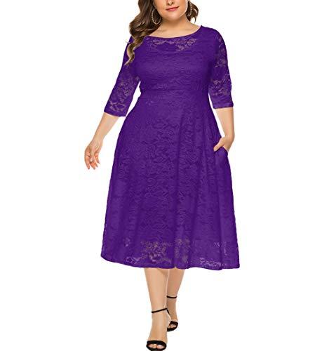 Eternatastic Womens Scooped Neckline Floral lace Top Plus Size Cocktail Party Midi Dress XL Deep Purple