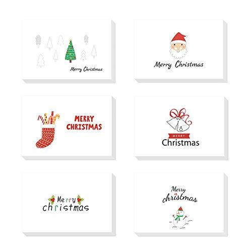24 pezzi Biglietto Auguri Natale con Buste e Adesivi da Busta,Cartoline di Natale Nota Vuota Carta,Pacco Cartoline di Natale,Natale Inviti Lettera,Biglietti Natalizi Vintage (white)