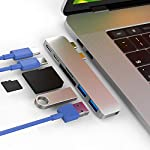 """CharJenPro USB C Hub for MacBook Pro 16"""", 15"""", 13"""", 2020, 2019, 2018, MacBook Air 2020, 2019, 2018, 100W Power, TB 3, 2 USB 3.0, microSD, SD Card Reader, USB C Port. USBC Adapter for MacBook 2020. 9 PREMIUM: Only for MacBook Air 2018 - 2020, MacBook Pro 2016 - 2020. Compact HIGH-GRADE Aluminum body. Only versatile all in one you need. THUNDERBOLT 3 PORT (top USBC port): Charges laptop up to 100W. 5K@60Hz video output for Ultra HD. Transfers data up to 40Gbps. The 2nd USB C port is for DATA ONLY transfer up to 5Gbps. FAST PORTS: 2 USB 3.0 and 1 USB C port for external hard drives, flash/thumb drives, phones, tablets, printers, scanners, all USB devices. Speeds up to 5Gbps."""