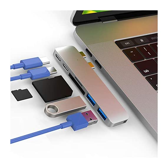 """CharJenPro USB C Hub for MacBook Pro 16"""", 15"""", 13"""", 2020, 2019, 2018, MacBook Air 2020, 2019, 2018, 100W Power, TB 3, 2 USB 3.0, microSD, SD Card Reader, USB C Port. USBC Adapter for MacBook 2020. 1 PREMIUM: Only for MacBook Air 2018 - 2020, MacBook Pro 2016 - 2020. Compact HIGH-GRADE Aluminum body. Only versatile all in one you need. THUNDERBOLT 3 PORT (top USBC port): Charges laptop up to 100W. 5K@60Hz video output for Ultra HD. Transfers data up to 40Gbps. The 2nd USB C port is for DATA ONLY transfer up to 5Gbps. FAST PORTS: 2 USB 3.0 and 1 USB C port for external hard drives, flash/thumb drives, phones, tablets, printers, scanners, all USB devices. Speeds up to 5Gbps."""