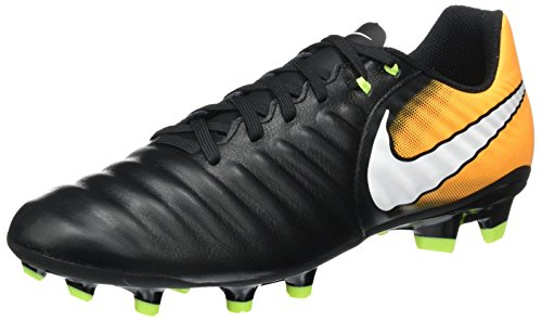 NIKE Men's Tiempo Ligera IV Leather FG Soccer Cleat (Sz. 6.5) Black, Laser Orange